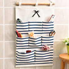 [kingstore] Creative Wall Hanging Storage Bag Cotton Linen Fabric Hanging Organizers Blue   8 pockets