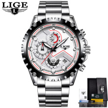 PEKY LIGE Watch Men Fashion Sport Quartz Clock Mens Watches Top Brand Luxury Full Steel Business Waterproof Watch