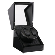 2 Slots Lacquer Wood Rotate Watch Winder Display Box Silent Motor Display Case Black   US plug