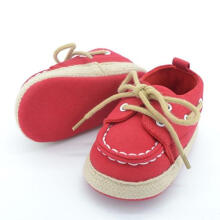 Farfi Baby Boy's Lace Up Bottom Prewalker Sneaker Outerdoor Canvas Shoes Red 0-6M