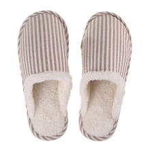 Farfi Winter Warm Plush Fashion Striped Couple Slippers Anti-slip Bedroom Supplies