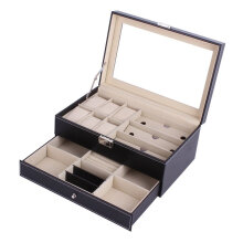 Double Layers Wooden Jewelry Sunglasses Watch Display Slot Case Box Container Black
