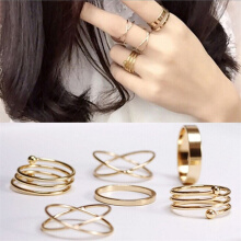 New Unique Ring Set Punk Alloy Knuckle Rings for Womens Finger Ring 6 PCS Rings Trail-blazer21 Gold 17mm