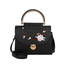 [LESHP]Elegant Woman Embroidered Flower Shoulder Bag Crossbody Small Flap Black