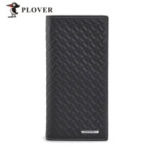 [LESHP]PLOVER GD5907-8A Cow Leather Business Long Slim Wallet Credit Crad Holder Black