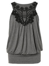 WEDO Plus Size Crochet Panel Hollow Out Tank Top Round Neck Sleeveless Dark Grey 3XL