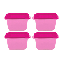 TECHNOPLAST Azumi Small Square Tall 400ml Set of 4 - Pink