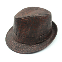 Zanzea 0051Mens PU Leather Crocodile Pattern Jazz Hat Outdoor Middle-aged Wide Brimmed Fedora Hats Black