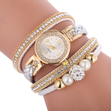Fashionmall Female Rhinestone Watch Woven Leather Decoration Watch