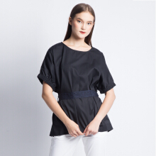 ART.TIK-FRONT PRINT RIBBON BLOUSE-Black