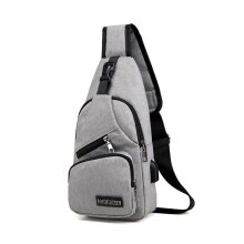 [LESHP]Multifunctional Men Waterproof Canvas USB Charging Running Chest Pouch Bag Grey