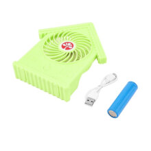 COZIME House Shape Rechargeable Mini USB Fan with Battery Air Cooler Desk Green