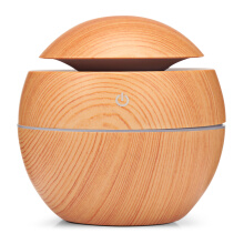 baellerry XBH - 035B Round Cover Wood Grain Humidifier Night Light Moisturizer Sprayer
