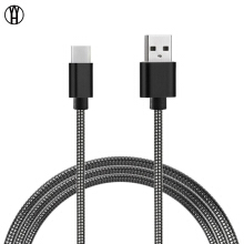 WH Anti-winding spring metal hose mobile phone data cable USB charging cable