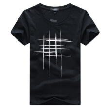 Ta To Simple Creative Design Line Cross Print Cotton T Shirts Men's New Arrival Summer Style Short Sleeve Men T-shirt