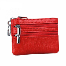 Jantens Women mini wallet leather wallet keychain women zipper bag ladies change card package red