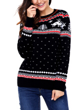 Zanzea 0051Christmas Women Long Sleeve Printed O-Neck Sweater Red M