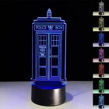 Farfi Doctor Police Pavilion Call Box 3D LED Table Lamp Touch 7 Color Night Light Multi-Color