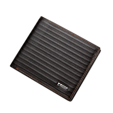 [LESHP]DBLO Men's Short PU Leather Fashion Quality Striped Pattern Business Wallets Coffee