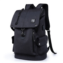 Jantens Fashion Men Backpacks USB Charge Laptop Oxford/Leather Teenager bag