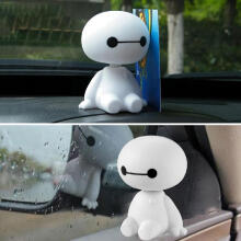 Farfi Cute Baymax Robot Shaking Head Doll Car Vehicle Dashboard Decor Ornament Gift White