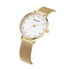 CURREN rhinestone watches women luxury brand slim gold mesh stainless steel wrist watch ladies quartz wristwatch