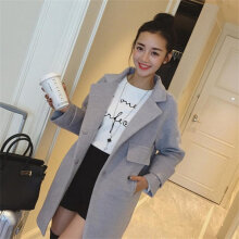 Solid Color Long-section Long-sleeved Turn-down Collar Woolen Coat for Female light grey S