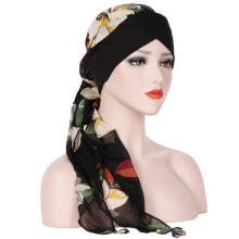 Farfi Floral Printed Women Scarf Muslim Hijab Head Wrap Long Tail Hat Headwear