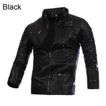 Farfi Men's Multi-Pocket Slim Zip Coat Faux Leather Motorcycle Biker Jacket