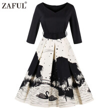 Zaful Fall Vintage Print Dress Women 50s Elegant Style V-neck Half Sleeve Pleated Dress Defined Waist with Belt Plus Size