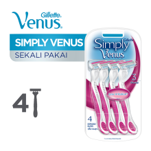 GILLETTE Venus Simply 3 Disposable Razor 4pcs (Random Color)