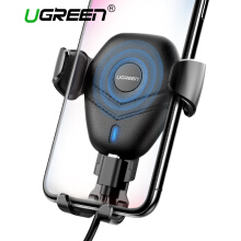 UGREEN Car Mount Qi Wireless Charger for Samsung S9 Samsung S8 iPhone X 8 Plus Handphone HP Fast Wireless Charging Pad Car Holder Stand Black