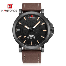 2018 NEW NAVIFORCE Sport Quartz Watch Waterproof Leather Date Men Watch 9015
