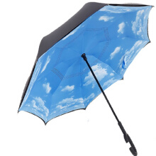 Jantens Folding Reverse Umbrella Double Layer Inverted Windproof Rain Car Umbrellas Blue sky
