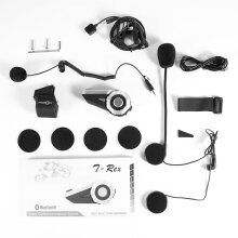 [COZIME] T-Rex Full Duplex Motorcycle Group Talk System 1500M 8-Way BT Interphone Black