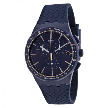 Swatch Rubber Strap Mens SUSN407-1190D42DBRHT Chronograph Bark Blue Black Bark Blue Black