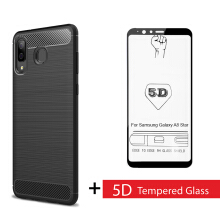 Tokomuda Carbon Fit Case with Tempered Glass 5D for Samsung Galaxy A8 Star (A9 Star) 6.3'' 2018 Black