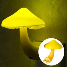 Farfi Intelligent Optical Control Switch Mushroom Shaped Yellow LED Night Light Lamp as the pictures
