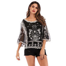 WEDO Three-quarter Sleeve Embroidery Hollowed-out Lace Round Collar Shirt Top Tee Black M