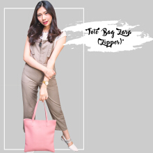 Tote Bag Zara bahan miniso zipper cream Beauty Gum