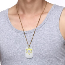 Jantens New Fashion Gold Color Star David Pendant Necklace Stainless Steel Long Chain Male Men Jewelry Gold