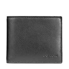 Coach Men's Black Leather Short Folding Wallet F74991BLK