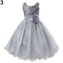 Farfi Girls' Gorgeous Flower Sequins Princess Dress Layered Ruffle Ball Gown Dress