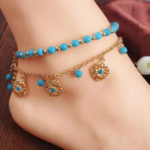 Farfi Boho Double Layers Rhinestone Flower Turquoise Foot Chain Anklet Ankle Bracelet as the pictures
