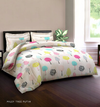 KING RABBIT Bedcover Double Motif Miley Tree - White/ 230 x 230cm White