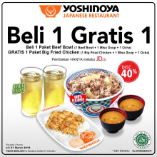 YOSHINOYA - Buy 1 Get 1 (Paket Beef Bowl Get Big Fried Chicken)
