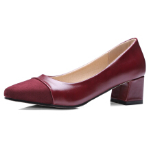 Suede Leather Square Heel Casual Shoes Dark Red 37