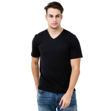 FACTORY OUTLET UG1802-0011 Mens T-Shirt V Neck Short Sleeve - Black