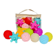 [OUTAD] 10pcs Soft Balls Baby Hand Catch Balls with BB Sound Toys for Kids Baby Multicolor