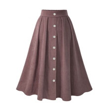 Jantens skirt button high waist stretch mid skirt Korean women skirt 2018 spring and summer Dark Pink One size